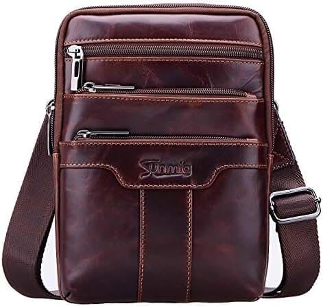 Sunmig Men's Vintage Genuine Leather Shoulder Bag Messenger Bags