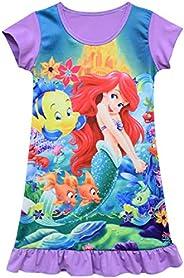 Indepence Life Girls Princess Dress The Little Mermaid Nightgown Sleepdress Little Girls Cartoon Pajamas
