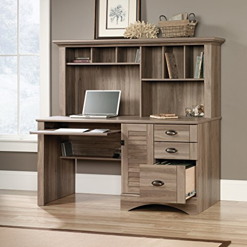 home, kitchen, furniture, home office furniture,  computer armoires, hutches 2 on sale Sauder Harbor View Computer Desk with Hutch, Salt promotion
