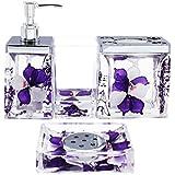 eumat nature series bathroom organizer set acrylic 4 pcs bathroom washing accessory set with purple flower nb4 026