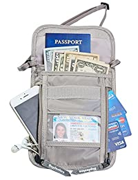 Hopsooken Travel Neck Pouch Passport Holder with Rfid Blocking, Use As Travel Wallet or Hidden Wallet - Protect Your Money, Passport, Credit Cards, Cell Phone and Documents,6 Pockets(Gray)