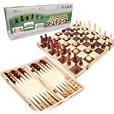 3-in-1 Wooden Chess Set & Checkers & Backgammon Set with Folding Carrying Case Folding and Travel Chess Board for Adults and Kids 15 inch