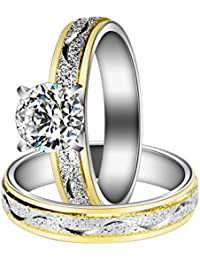 Women Engagement Rings Set, Stainless Steel Cubic Zirconia Promise Wedding Rings Size 6-9