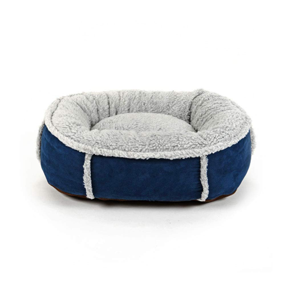 bluee 605018cm bluee 605018cm Pet Bed Washable Plush Soft Deluxe Comfy Cat Dog Bed Waterloo Removable Cushion CHENGYI (color   bluee, Size   60  50  18cm)