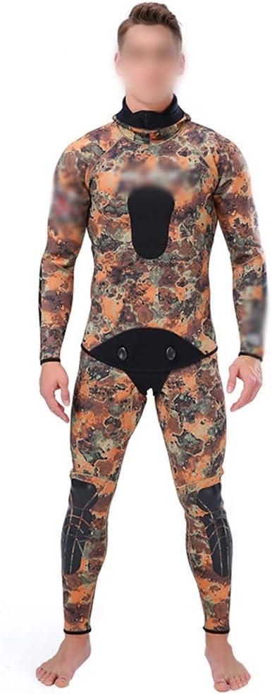 KingsleyW プロの狩猟魚スーツ3ミリメートル迷彩迷彩分割ダイビングスーツフード付きウォームショット魚ウェットスーツ (色 : Camouflage, サイズ : XL) Camouflage X-Large