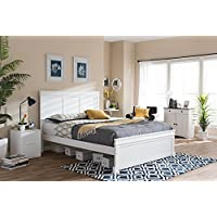 Baxton Studio Amber Queen Platform Bed in White