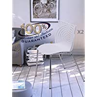 OTTITI Modern Dining Chairs Set of 2, Stackable Birch Sapling Accent Armless Side Chairs, Mid Century Indoor-Outdoor Restaurant Chairs with Steel Tube Legs (White)