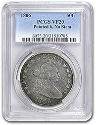 1806 Draped Bust Half Dollar Pointed 6, No Stems VF-20 PCGS Half Dollar VF-20 PCGS