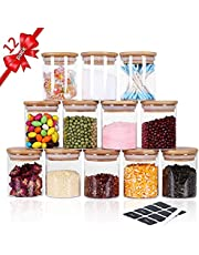 Roccar 12 Pcs Stackable Glass Jars & Canisters, Pack of 12 Glass Spice Canisters with Airtight Bamboo Lid for Pasta,, Rice,Candy, Cookie, Sugar, Flour, , Nuts