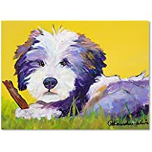 Chew Stick work by Pat Saunders, 24 by 32-Inch, White Canvas Wall Art