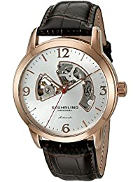 Stuhrling Original Men's 'Legacy' Automatic Stainless Steel and Brown Leather Dress Watch (Model: 1074.3345K2)