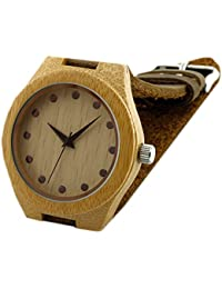 WSGK037 Bamboo Wooden Women's Leather Watches Wristwatches