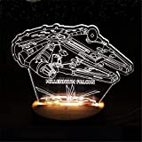 NOVADEAL Star Wars Millennium Flacon 3D Effect Visual Glow LED Night Light With Wooden Base USB Charging Building Lamp Acrylic For Home Bedroom Bedside Decor