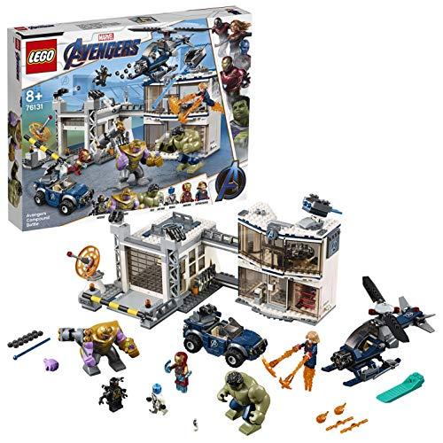 LEGO Super Heroes - Batalla en el Complejo de los Vengadores, Juguete de Construccion de Avengers, Incluye Helicoptero y Todoterreno (76131)