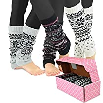 TeeHee Gift Box Womens Fashion Leg Warmers 3-Pack Assorted Colors