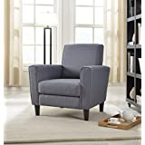 Container Furniture Direct Contemporary Twill Fabric Upholstered Living Room Arm Chair, Accent Chair with Back, Gray