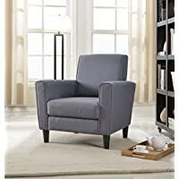 Container Direct Contemporary Solid Colored Fabric Accent Chair, Gray, Regular