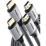 PowerBear Cable HDMI 4K 1.8m [Pack de 2] Conectores Dorados y Trenzado de Nylon Premium
