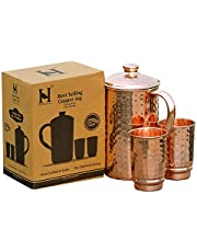HealthGoodsIn - Pure Copper Hammered Water Jug with 2 Hammered Copper Tumbler | Copper Pitcher and Tumbler for Ayurveda Health Benefit | 1.5 Liter / 50.7 oz. Pitcher with Copper Tumblers