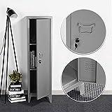 HouseinBox Office Lab Standing Metal Locker Storage Cabinet 3-in-1 Shelves Door Lockable 137cm Height,Dark Grey