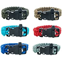FROG SAC Paracord Bracelets with Emergency Whistle Buckles 6 PCs Pack - Survival Buckle Bracelet Set for Men Boys Women Girls - Camping, Hiking Accessories - Great Party Favors (Solid)