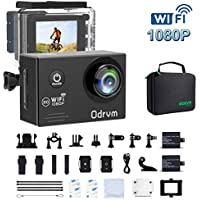 Action Camera HD 1080P Underwater Sports Camera Waterproof Camera Full Camcorder with 2 x 1050mAh Batteries and Outdoor Accessories Kits for Bike, helmet, motorcycle, drone, kids, for Extreme Sport