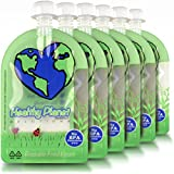 Reusable Food Pouch (6oz - 6 Pack) Baby Food Storage Easy Fill and Clean Leakproof Dual Zipper for Homemade Organic Baby Food, Toddlers, Camping and More
