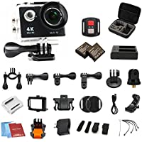 H9R 4K waterpoof action camera Wifi Camcorder 12MP 170 Ultra Wide Angle- 3x1050mAh Batteries portable package Accessory Set and Wireless Remote Control-black