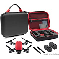 CaseSack Designed Travel Case for DJI Spark Mini Quadcopter Drone, Slots for extra batteries and propellers, mesh pocket for USB cable and accessories (Black with contrast Red handle and lining)