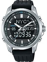 PZ4023X1 Pulsar Mens Digital Analogue 100m Water Resistant Black Polyurethane Strap Watch