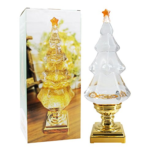 DDXJ LED Light Up Musical Glitter Christmas Tree, 14 Inch Tall Singing Snow Globe Christmas Tree Shaped with Pedestal