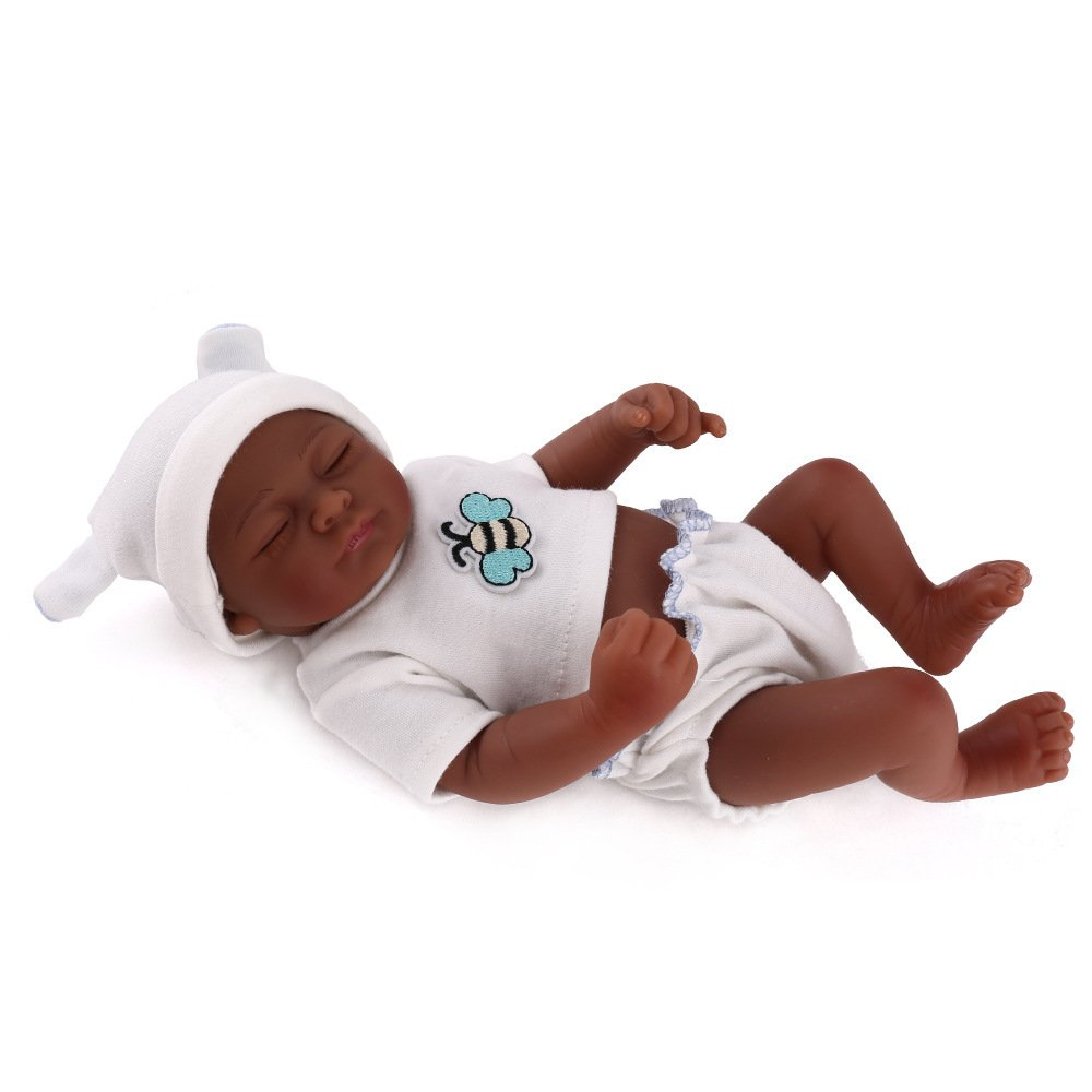 ADZPAB Reborn Babypuppen Schwarze Haut handgefertigt lebensechte weiche Simulation Augen geschlossen Mädchen Lieblingsgeschenk kann gewaschen Werden 11 Zoll 28 cm