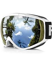 findway Skibrille, Ski Snowboard Brille Schneebrille Brillenträger Snowboardbrille Verspiegelt, OTG UV-Schutz Anti Fog Verbesserte Belüftung für Skifahren Snowboarden Für Skibrillen Damen Herren