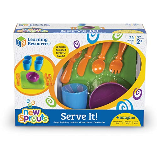 Learning Resources New Sprouts Serve It! Dish Set, Early Social Interactions, 24 Piece, Ages 2+,Multicolor,7 L x 7 W in