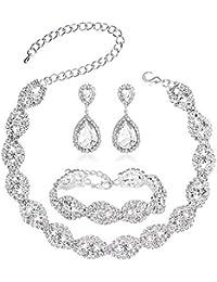 3-4 Pack Rhinestone Austrian Crystal Choker Necklace Tiara Crown Link Bracelet Teardrop Dangle Earrings Jewelry Sets for Women Girls, Womens Bridal Wedding Bridesmaid Party Birthday Prom Jewelry Gift.