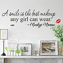 DIY Removable Marilyn Monroe A Smile Is the Best Makeup Red Lip Art Mural Vinyl Wall Stickers