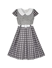 Sunny Fashion Girls Dress Pink Belted School Pleated Hem Size 4-14