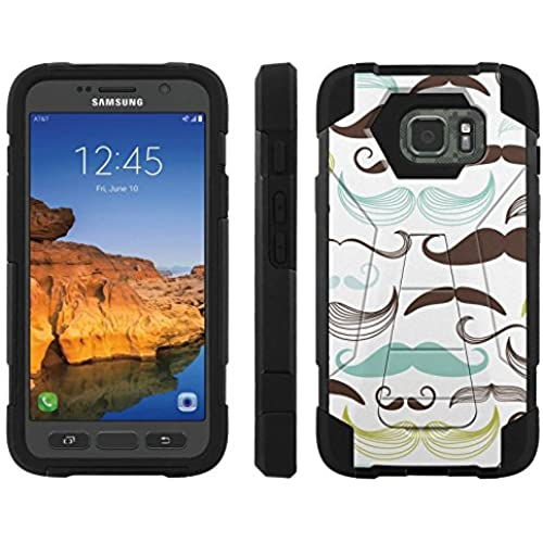AT&T [Galaxy S7 Active] ShockProof Case [ArmorXtreme] [Black/Black] Hybrid Defender [Kickstand] - [Mustache] for Samsung Galaxy [S7 Active] Sales