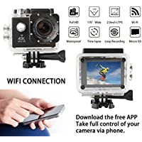 VIZOMAOI 4K Sports Action Camera, Ultra HD, WI-FI, Waterproof 2 Batteries and 20 Accessories Kits, 170 Degree Wide Angle Lens, 2 LTPS Screen Camcorder, US Based Customer Service