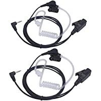 Arama A201M02 Covert Acoustic Tube earpiece headset with PTT and Microphone for 1 PIN 2.5MM Motorola Two-Way Radio T6200C T5800 T7200 T5720(2XPack)