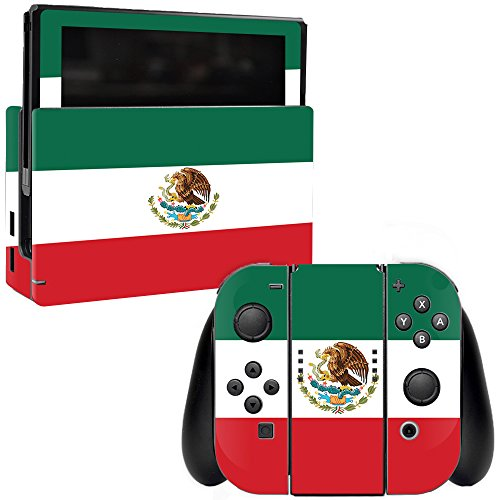 MightySkins Skin Compatible with Nintendo Switch - Mexican Flag | Protective, Durable, and Unique Vinyl Decal wrap Cover | Easy to Apply, Remove, and Change Styles | Made in The USA