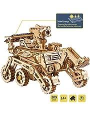 ROBOTIME Solar Powered Stem Toys - Laser Cutting Robot DIY Kits de Modelo de Coche - Rompecabezas de Madera 3D Age 14 3D Puzzles Adult