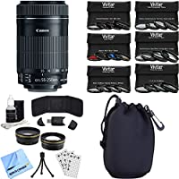 Canon EF-S 55-250mm f/4-5.6 IS STM Lens (8546B002) Photography Bundle includes Lens, Pouch, 58mm Ultimate Filter Kit, Wide Angle Lens, Telephoto Lens, Beach Camera Cloth and More
