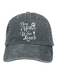 Dog Mother Wine Lover Mens Adjustable Baseball Cap