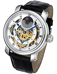 Rougois Silver Case and Gold Movement Dual Time Zone with White Accents and Moonphase Display with Black Leather...