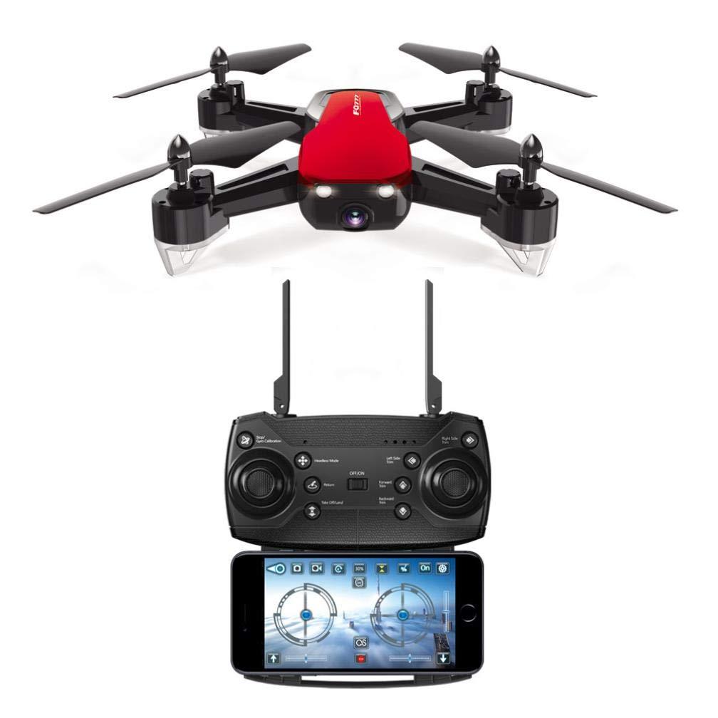 Fuibo FPV-Echtzeitübertragung Drohne, 2.4G 720P Weitwinkel WiFi HD Kamera Drone RC Hubschrauber Quadcopter Hover   Schwerkraftsteuerung   Kopflos Modus   EIN-Tasten-Start   Landung (Rot)