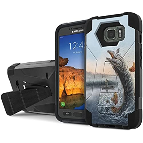AT&T [Galaxy S7 Active] Armor Case [NakedShield] [Black/Black] Tough ShockProof [Kickstand] Phone Case - [Fishing Sales