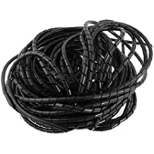 Copapa 21M 68 Ft PE Black Polyethylene Spiral Wire Wrap Tube PC Manage Cable 6mm 1/4'' for Computer Cable, Car Cable (Dia 6MM-Length21M, Black)