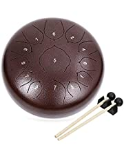 COOLMUSIC Steel Tongue Drum 13 Notes 12 Inches C Key Percussion Instrument Handpan Drum Tank drum with Bag, Music Book, Mallets, Finger Picks, Tone Sticker for Beginner Adult Kids(Brown)
