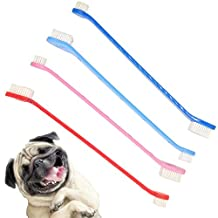 4Pcs Dog Toothbrush Kit Cat Dual Headed Dental Hygiene Brushes for Cleaning Pets Teeth Small Breed, with Long Handle(Random Color)